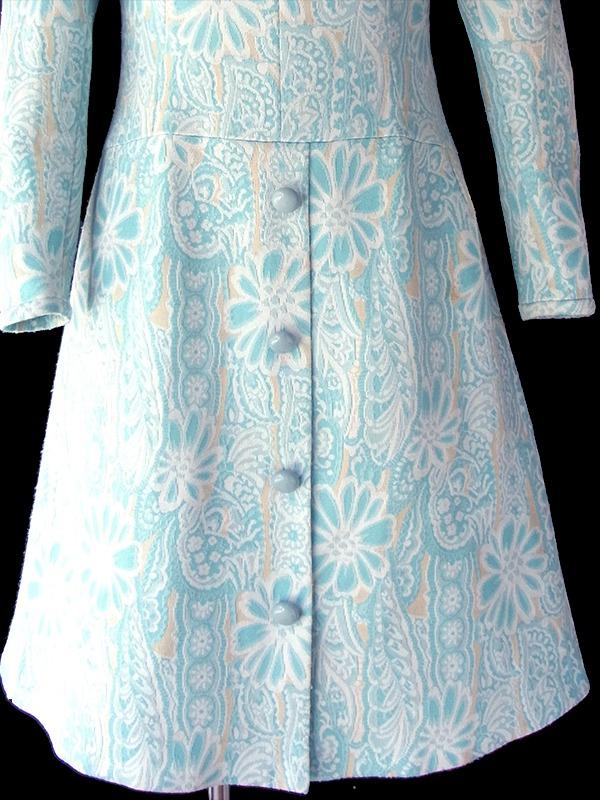 フランス買い付け 60年代製 水色 X クリーム色 花柄モチーフのレトロ柄が織られた生地 ワンピース 18FC417