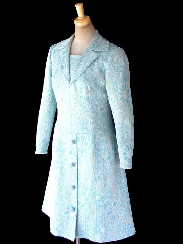 フランス買い付け 60年代製 水色 X クリーム色 花柄モチーフのレトロ柄が織られた生地 ワンピース 18FC419