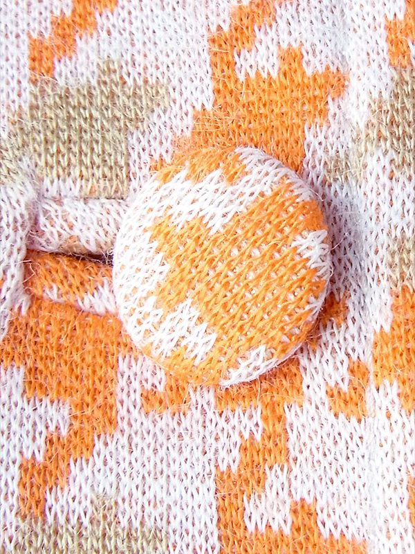 ヨーロッパ古着 フランス買い付け 60年代製 オレンジ X ベージュ・ホワイト 千鳥格子 プリーツ ワンピース 18FC411