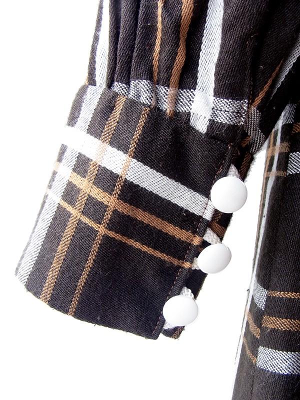 ヨーロッパ古着 フランス買い付け 60年代製 ブラウン X チェック柄 ホワイト コードレース縁取り ヴィンテージ ワンピース 18FC413