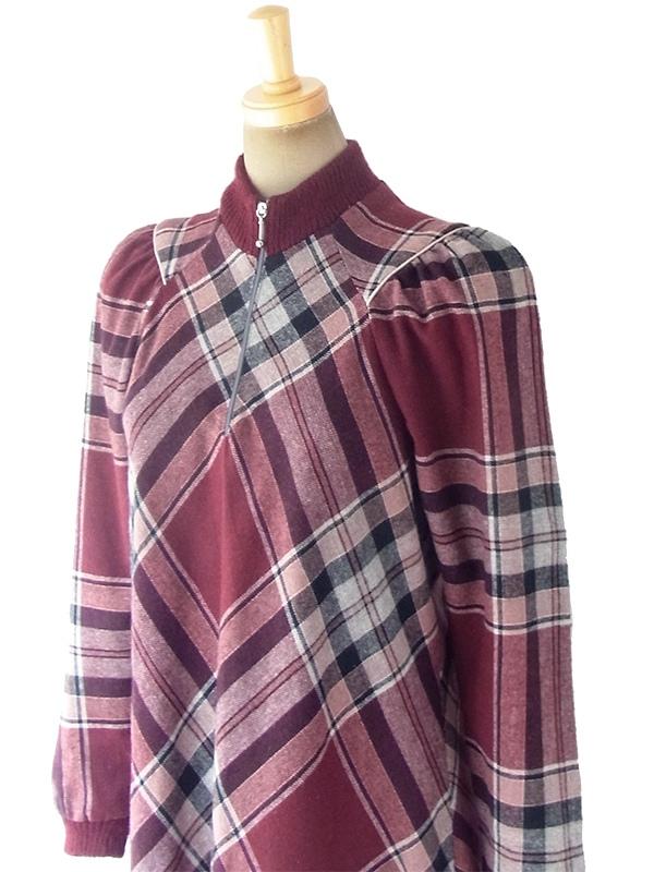 ヨーロッパ古着 フランス買い付け 60年代製 バーガンディー X チェック柄 リブ編みネック・袖口 フロントジップ ワンピース 18FC414