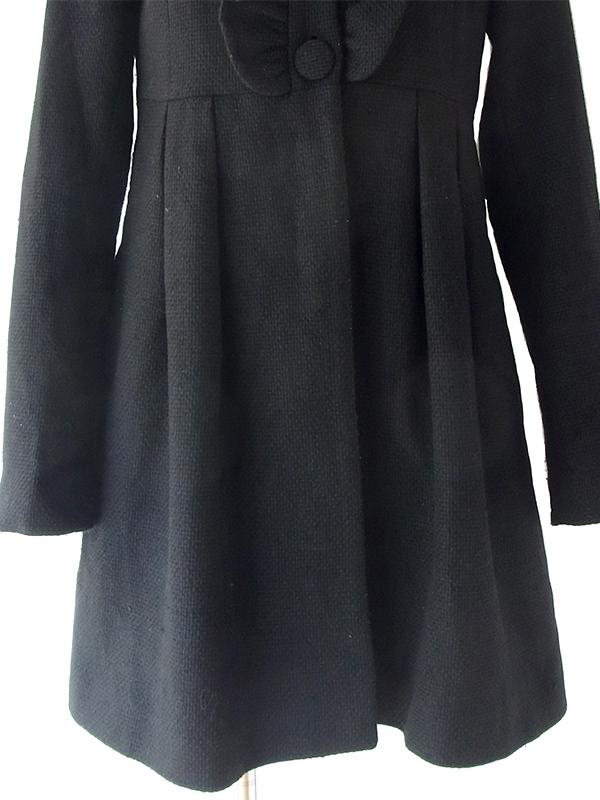 ヨーロッパ古着 フランス買い付け Naf Naf ブラック X ギャザーフリル カシミア混合 ワンピース コート 18FC500