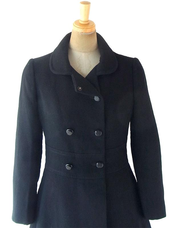 ヨーロッパ古着 フランス買い付け 60年代製 ブラック X シームデザイン ヴィンテージ ウール コート 18FC501
