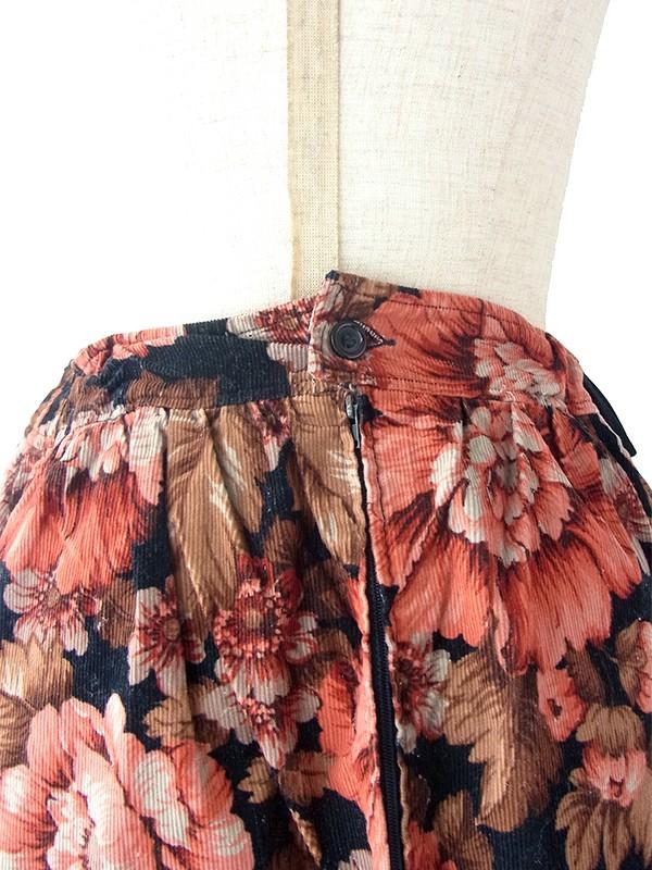 ヨーロッパ古着 フランス買い付け 60年代製 ブラック X ダークピング・ブラウン コーデュロイ スカート 18FC522