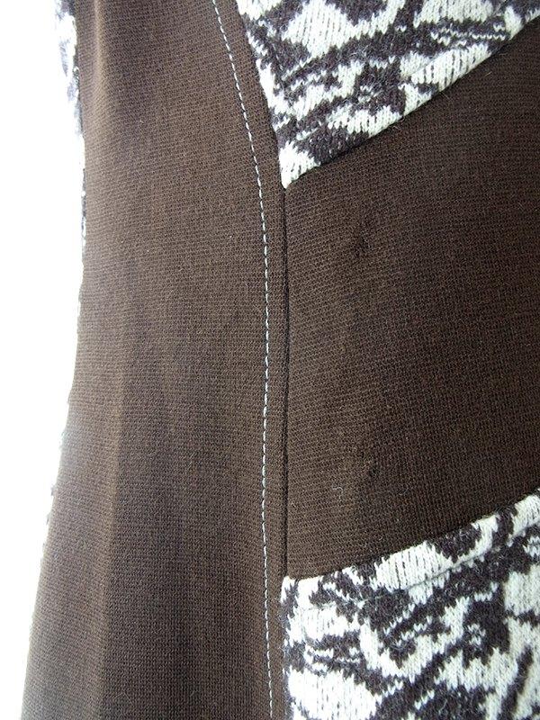 ヨーロッパ古着 フランス買い付け 60年代製 クリーム色 X ブラウン生地切り返し レトロ柄 ウール ワンピース 18FC602