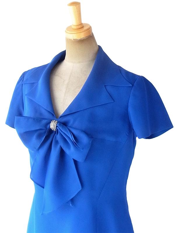 ヨーロッパ古着 フランス買い付け 80年代製 ロイヤルブルー X 留め具付きリボン ヴィンテージ ドレス 18FC603