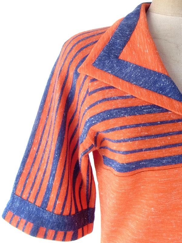 ヨーロッパ古着 フランス買い付け 60年代製 ブラッドオレンジ X ネイビー ボーダー 胸ポケット付き ヴィンテージ ワンピース 18FC605