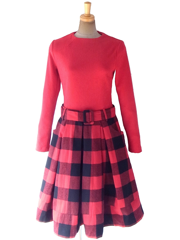 ヨーロッパ古着 ロンドン買い付け 70年代製 レッド X ブラック ブロックチェック スカート切り替え 共布ベルト付き ワンピース 18FC609