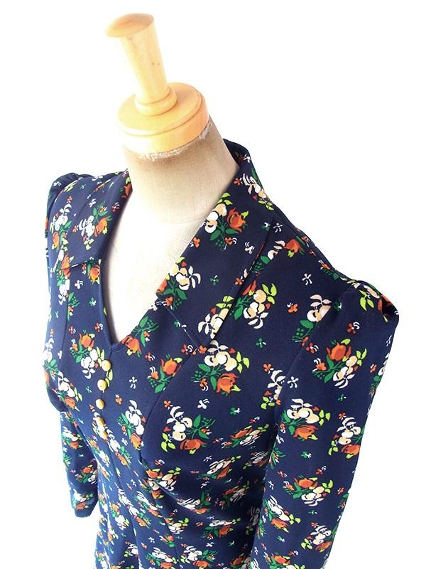 ヨーロッパ古着 フランス買い付け 70年代製 ネイビー X カラフルなレトロ花柄 フレア ワンピース 18FC611