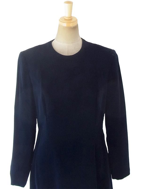 ヨーロッパ古着 ロンドン買い付けブラック X ベルベット ヴィンテージ ドレス 18OD002