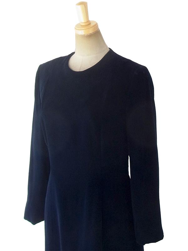 ヨーロッパ古着 ロンドン買い付けブラック X ベルベット ヴィンテージ ドレス 18OD005