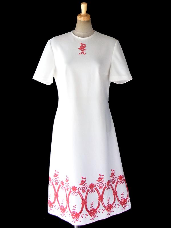 ヨーロッパ古着 ロンドン買い付け 70年代製 ホワイト X レッド 花柄カットワーク刺繍 ヴィンテージ ワンピース 18OM105