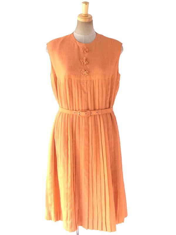 ヨーロッパ古着 ロンドン買い付け 60年代製 オレンジ X プリーツ 共布ベルト付き ヴィンテージ ワンピース 18OM204