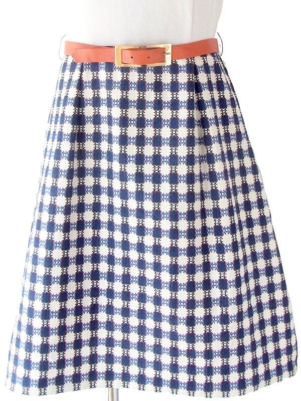 ヨーロッパ古着 ロンドン買い付け 70年代製 ホワイト X レッド・ブルー レトロ柄刺繍スカート切り返し ベルト付き ワンピース 18OM300
