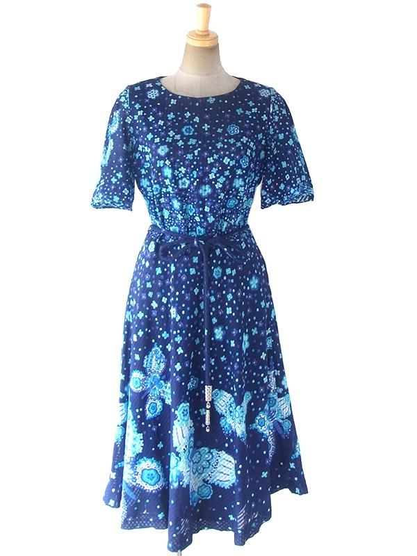 ロンドン買い付け 70年代製 ミッドナイトブルー X 花柄・蝶イラストプリント ロープベルト付き ワンピース 18OM310