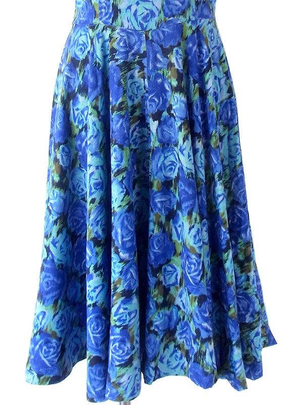 ヨーロッパ古着 ロンドン買い付け 70年代製 ブルー X グリーン 薔薇プリント フレア ワンピース 18OM317