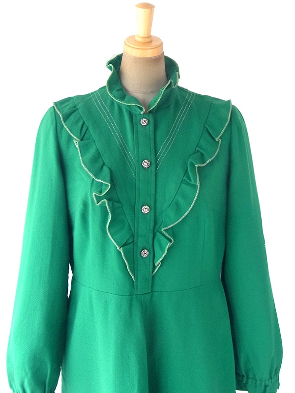 ヨーロッパ古着 ロンドン買い付け 70年代製 グリーン X ギャザー飾り ゴールドステッチ ヴィンテージ ワンピース 18OM332