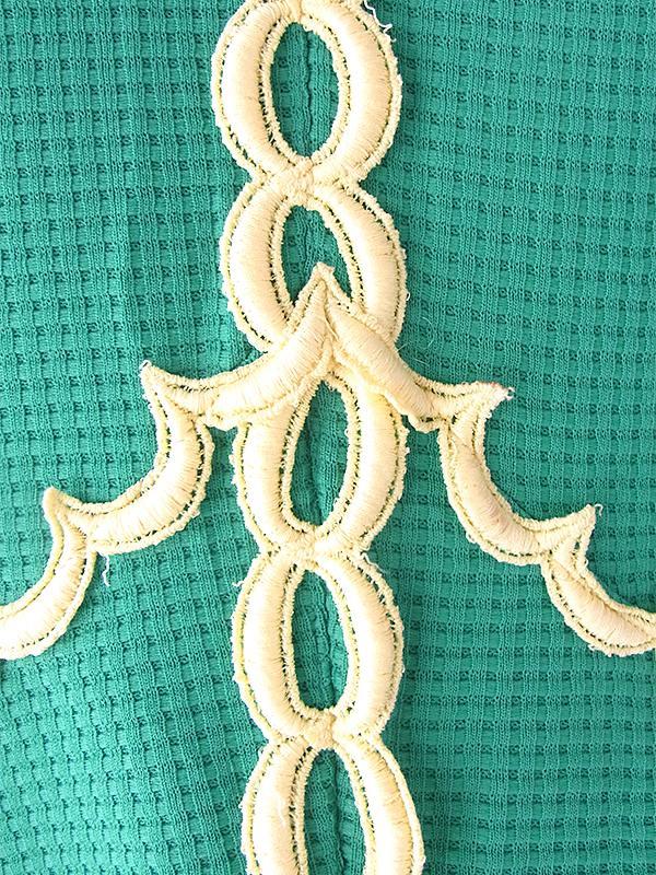 ヨーロッパ古着 ロンドン買い付け 70年代製 グリーン X イエロー テープ装飾 ワッフル地 ヴィンテージ ワンピース 18OM427