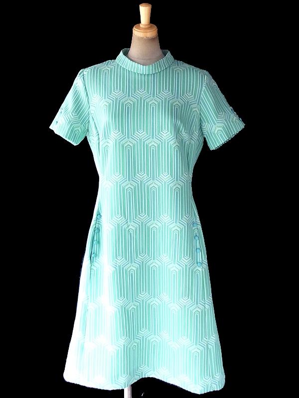 ヨーロッパ古着 ロンドン買い付け 70年代製 水色 X ミントグリーン X ホワイト 幾何学模様 ポケット付き レトロ ワンピース 18OM603