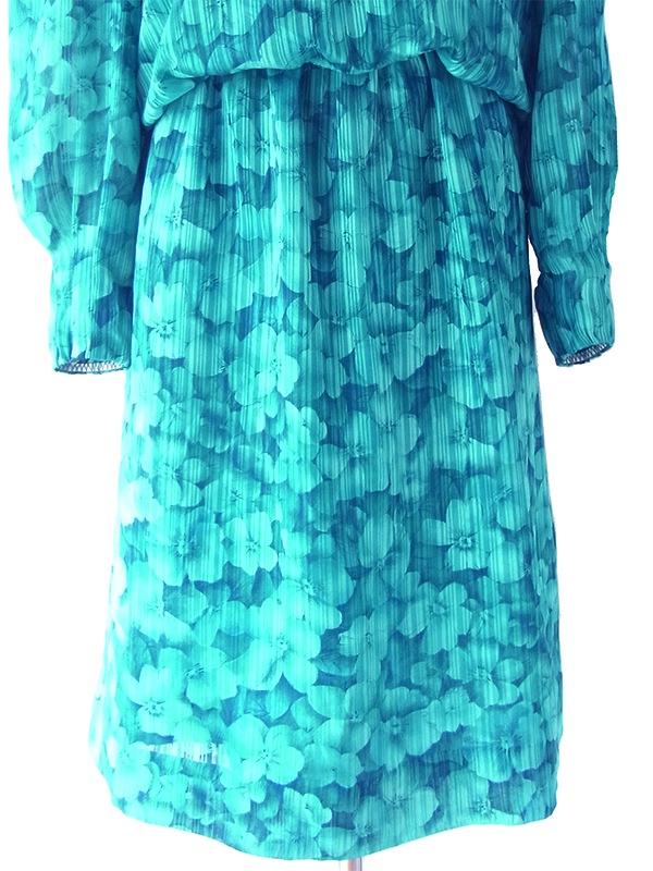 ヨーロッパ古着 ロンドン買い付け 70年代製 ターコイズブルー X 花柄・ストライプ カウルネック ワンピース 18SR011