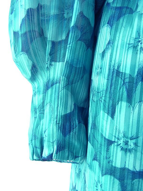 ヨーロッパ古着 ロンドン買い付け 70年代製 ターコイズブルー X 花柄・ストライプ カウルネック ワンピース 18SR012