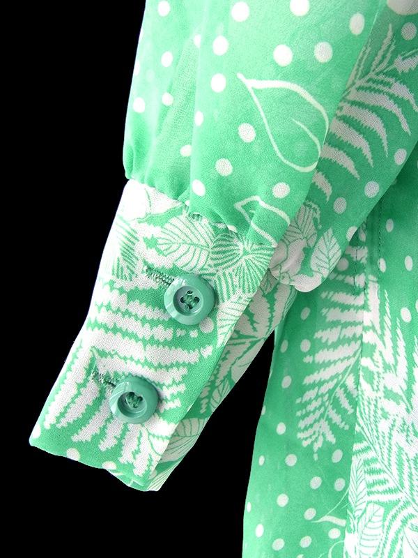 ロンドン買い付け 70年代製 エメラルドグリーン X ホワイト 花柄 共布ベルト付き ヴィンテージ ワンピース 18SR006