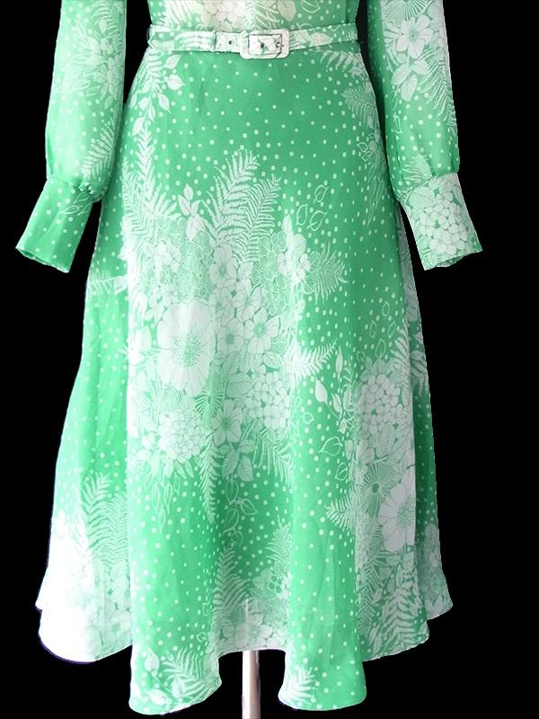 ヨーロッパ古着 ロンドン買い付け 70年代製 エメラルドグリーン X ホワイト 花柄 共布ベルト付き ヴィンテージ ワンピース 18SR006