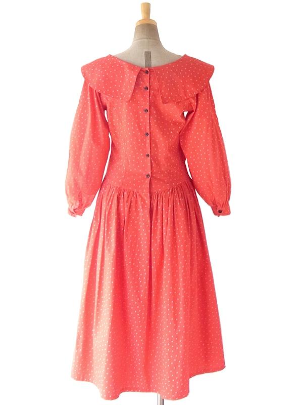 ヨーロッパ古着 ロンドン買い付け 60年代製 レッド X ホワイト 水玉 薔薇コサージュ ヴィンテージ ワンピース 18SR007