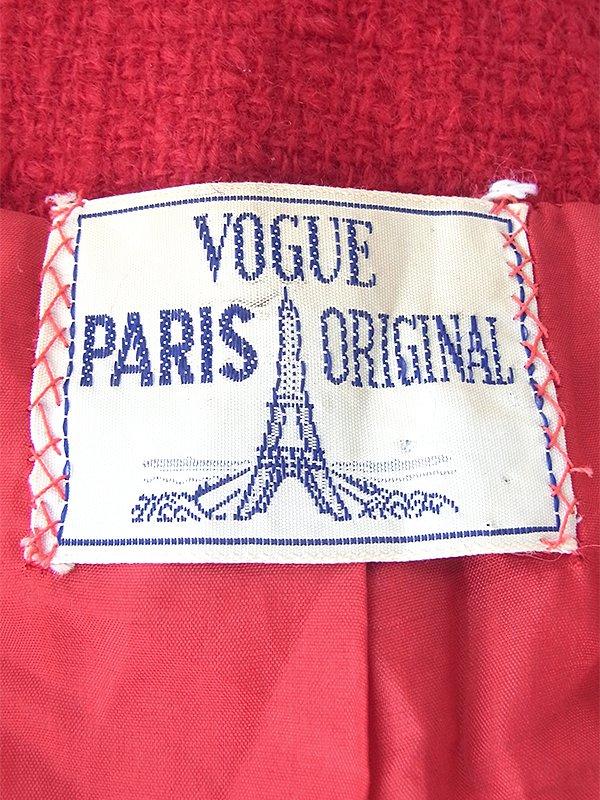 ヨーロッパ古着  60年代フランス製 レッド X くるみボタン ヴィンテージ ウール ジャケット 18SR016