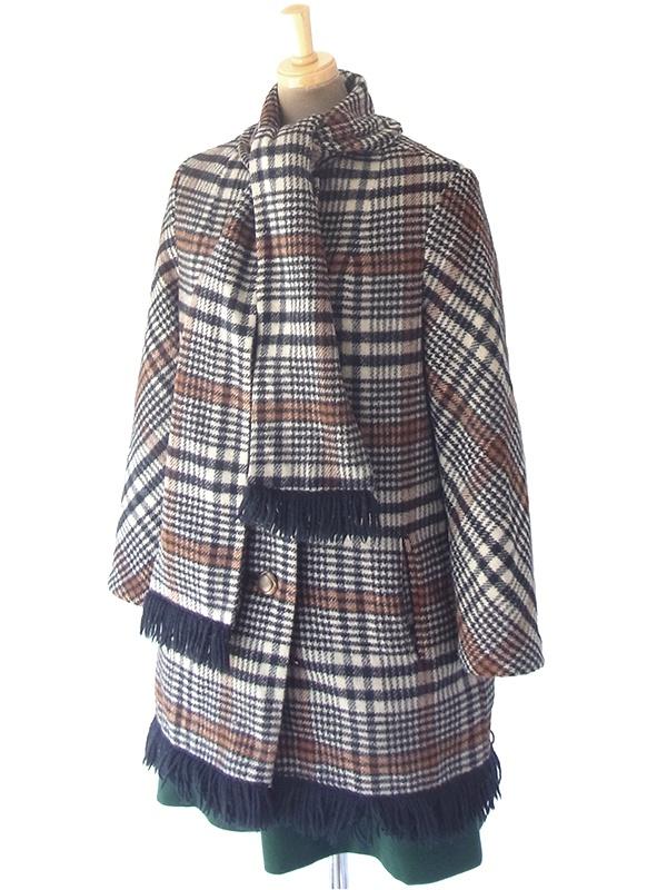 ヨーロッパ古着 ロンドン買い付け 60年代製 タータンチェック X マフラー風デザイン フリンジ付き ウール コート 18SR011