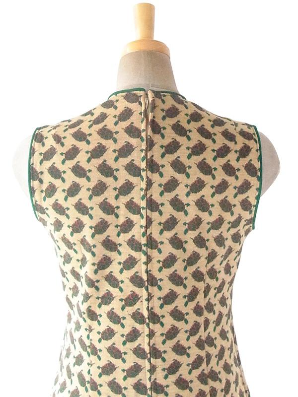 ヨーロッパ古着 ロンドン買い付け 60年代製 サンドベージュ X グリーン・レッド 薔薇柄 ポケット付き ワンピース 18SR111