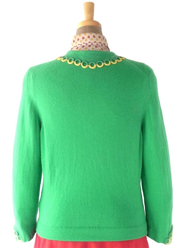 ヨーロッパ古着 ロンドン買い付け 60年代製 グリーン X イエロー チェーン柄装飾 カシミア カーディガン 18SR112