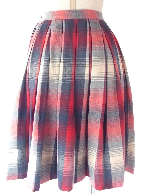 アメリカ製 PENDELTON レッドXネイビーXライトベージュ チェック柄柄 ウール ボックスプリーツ スカート 18SR118