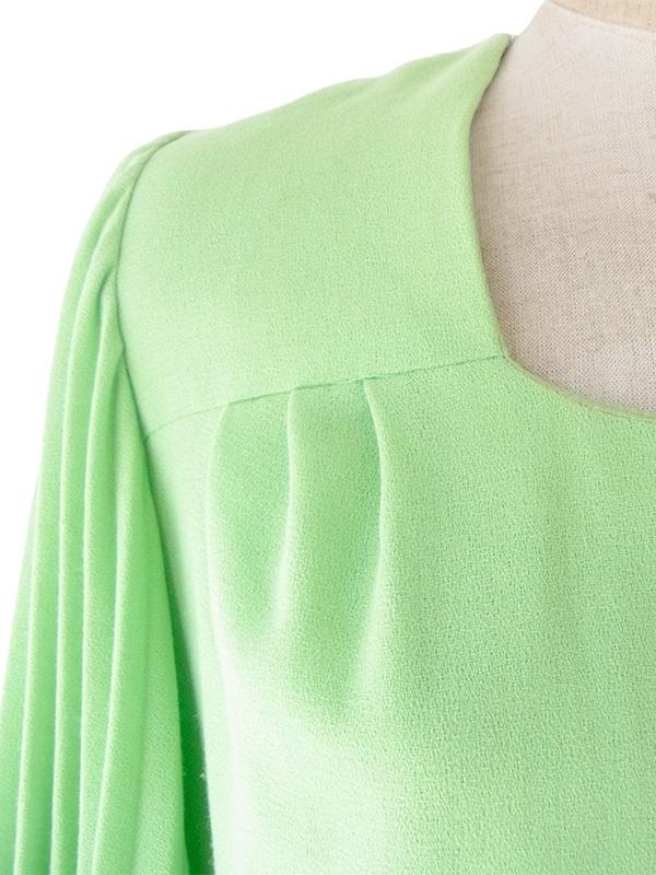 ヨーロッパ古着 ロンドン買い付け 70年代製 若草色 X プリーツ袖 ヴィンテージ ワンピース 19BS004