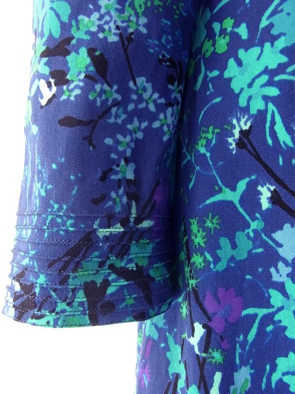 ヨーロッパ古着 70年代イタリア製 ロイヤルブルー X カラフルな花柄プリント ヴィンテージ ワンピース 19BS018