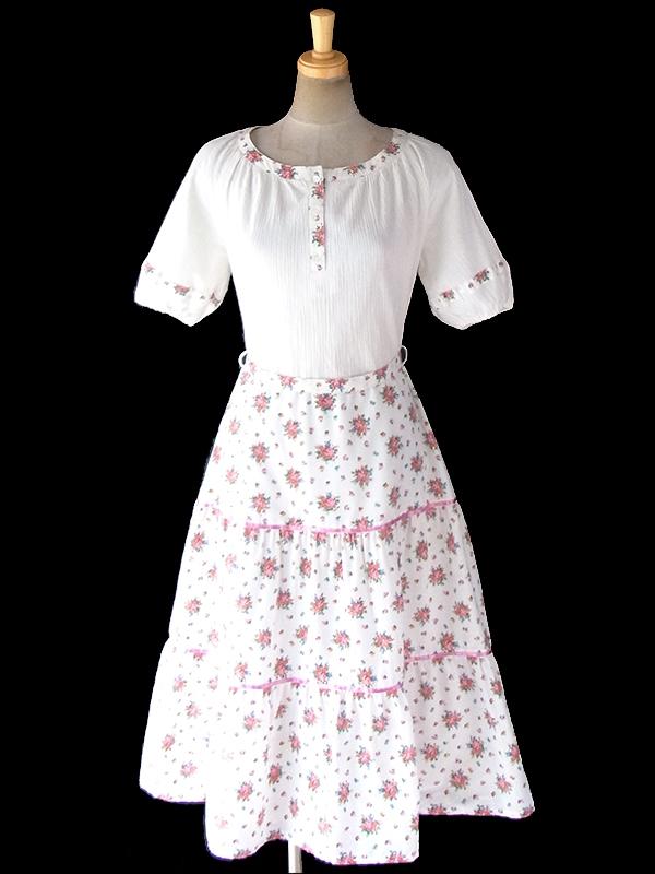 ヨーロッパ古着 ロンドン買い付け 60年代製 ホワイト X カラフル花柄 生地切り返し ピンク テープ ティアード ワンピース 19BS020