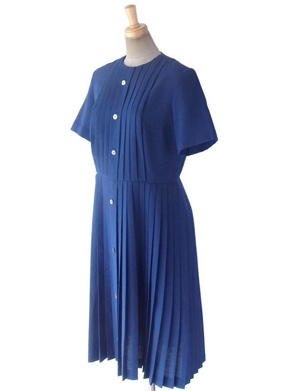 ヨーロッパ古着 ロンドン買い付け 60年代製 ロイヤルブルー X アンブレラ プリーツ ウール ワンピース 19BS023