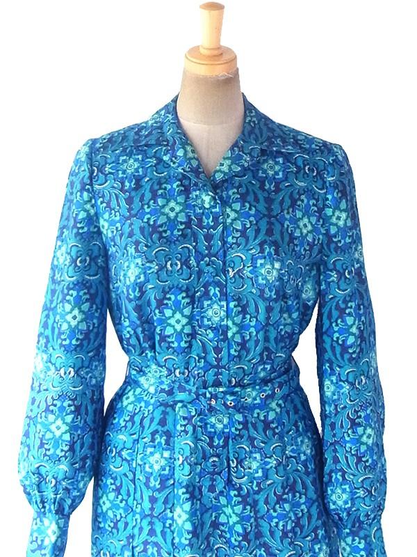ヨーロッパ古着 ロンドン買い付け 60年代製 ターコイズブルー アラベスク模様 共布ベルト付き コットンシルク ワンピース 19BS029