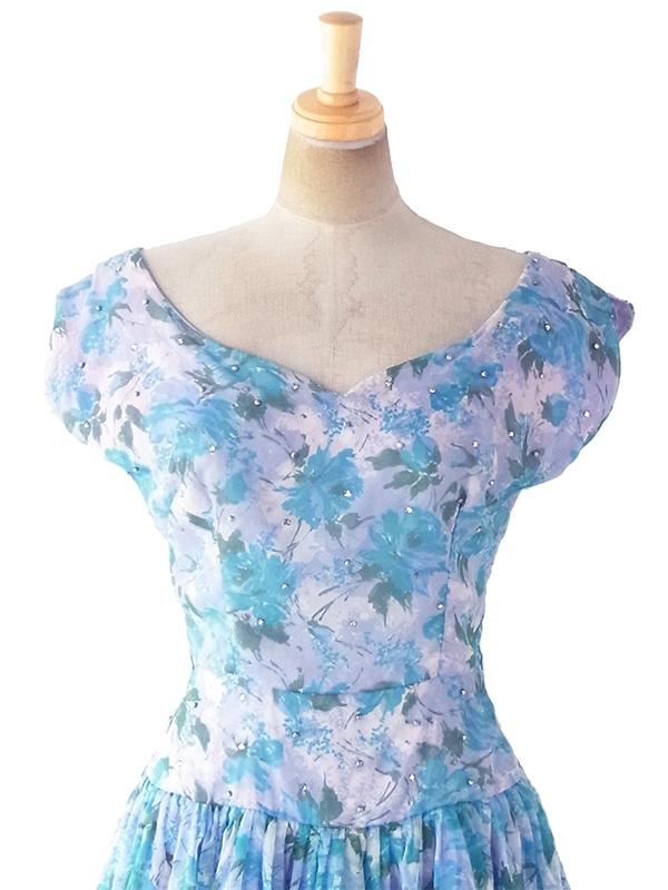 ヨーロッパ古着 ロンドン買い付け 60年代製 淡いパープル X ブルー 薔薇プリント ラインストーン シフォン地 ドレス 19BS103