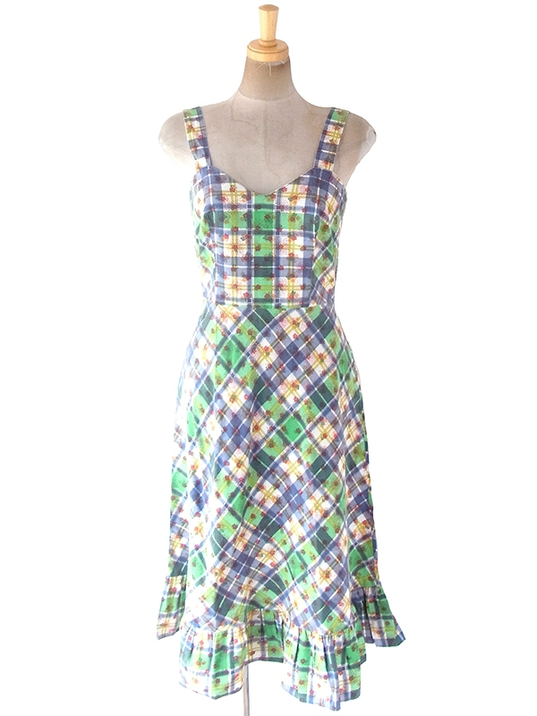 ヨーロッパ古着 ロンドン買い付け 60年代製 グリーン X ブルー マドラスチェック・花柄 ストラップ ワンピース 19BS105