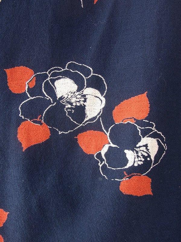 ヨーロッパ古着 ロンドン買い付け 70年代製 ネイビー X レッド・ホワイト 花柄 共布ベルト付き ヴィンテージ ワンピース 19BS119