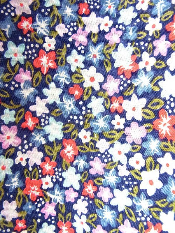 ヨーロッパ古着 ロンドン買い付け 60年代製 ネイビー X カラフル 小花柄 共布ベルト付き ストラップ ワンピース 19BS120