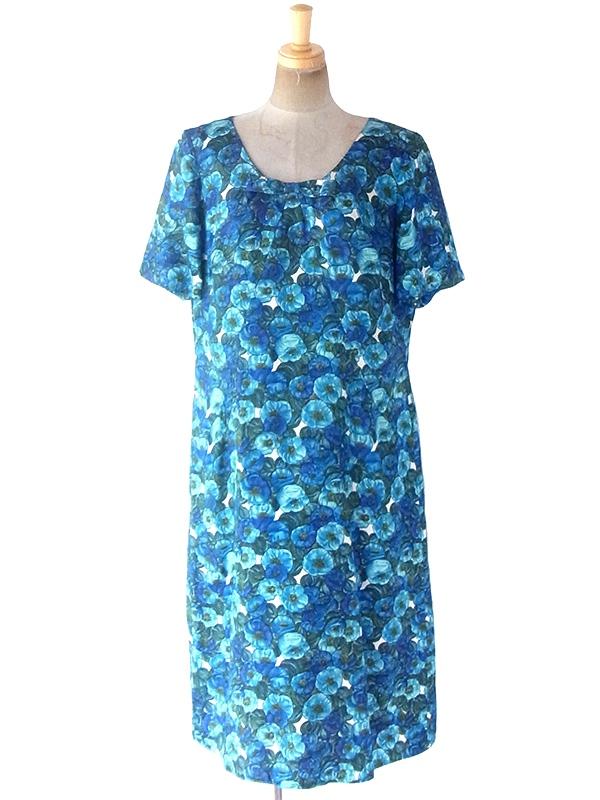 ヨーロッパ古着 ロンドン買い付け 70年代製 ブルー・水色・グリーン 花柄 襟元リボン ヴィンテージ ワンピース 19BS122
