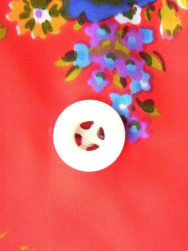 ヨーロッパ古着 ロンドン買い付け 70年代製 レッド X カラフル花柄 共布ベルト付き ヴィンテージ ワンピース 19BS125