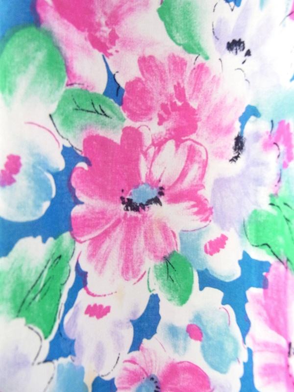 ヨーロッパ古着 ロンドン買い付け 60年代製 ブルー X カラフルな水彩画風花柄 ヴィンテージ ワンピース 19BS126