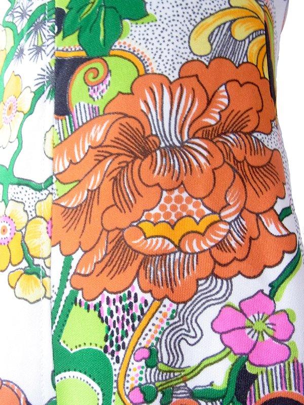 ヨーロッパ古着 ロンドン買い付け 70年代製 ホワイト X カラフル花柄 ヴィンテージ ワンピース 19BS127