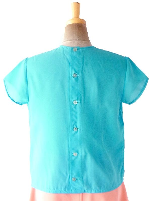 ヨーロッパ古着 ロンドン買い付け 70年代製 ターコイズブルー X ピンタック 背面ボタン留め トップス 19BS133