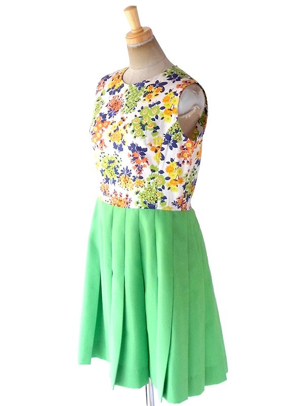 ヨーロッパ古着 ロンドン買い付け 70年代製 カラフル花柄 X ライムグリーン スカート 切り返し ワンピース 19BS201