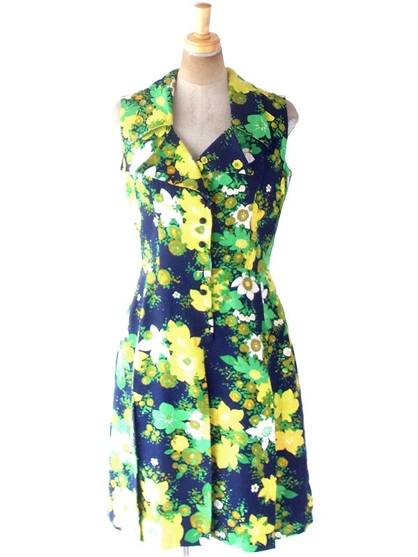 ヨーロッパ古着 ロンドン買い付け 60年代製 ネイビー X グリーン・イエロー 花柄 裾切り込み ヴィンテージ ワンピース 19BS204