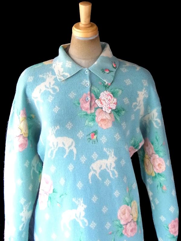 ヨーロッパ古着 ロンドン買い付け 60年代イタリア製 パステルブルー X トナカイと薔薇 ビーズ装飾 ウールニット ワンピース